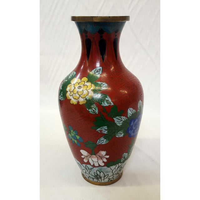 Chinese Floral Champleve Vase Enamel-Over-Brass Vintage Origin: China Dimensions: 9-1/4 inches tall X 5 inches wide X 5...