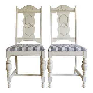 1920s French Country Cream Oak Dining Chairs - a Pair