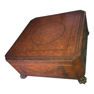 Maitland-Smith Leather Covered Coffee Table Storage Trunk With Brass Lion Feet For Sale