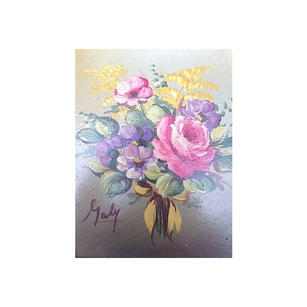 "Oil painting of a floral bouquet painted on wood board. Signed lower left ""Galy."""