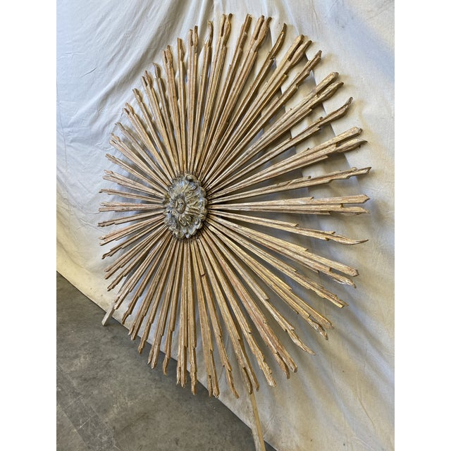 Italian Gilt Wood Sunburst Tuscan Wall Art Hanging For Sale In Austin - Image 6 of 10