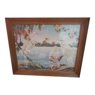 1950's Mid-Century Modern Framed Print of Egrets by Turner