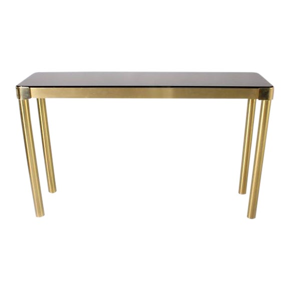 Italian Brass Console With Smoky Glass Top, C. 1950 For Sale