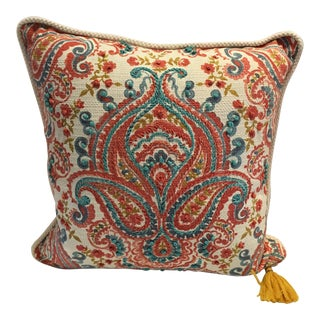 Cynthia Rowley Hand-Embroidered Paisley Down Pillow For Sale