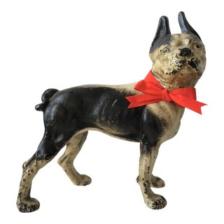 1900s Antique Hubley Terrier Cast Iron Doorstop For Sale