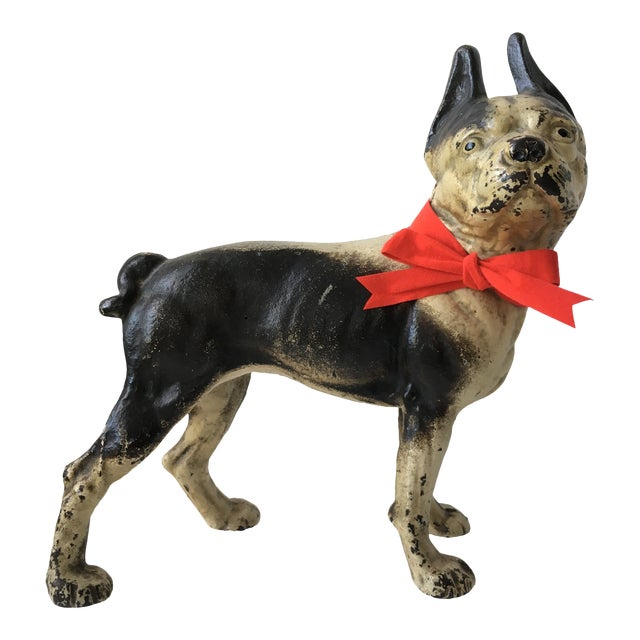 1900s Antique Hubley Terrier Cast Iron Doorstop For Sale