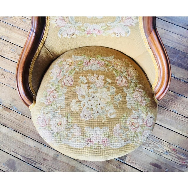 1860s Renaissance Revival Needlepoint Slipper Chair For Sale - Image 4 of 6
