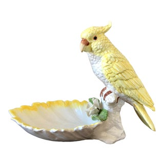 Vintage Yellow Italian Pottery Bird Figural Bowl For Sale