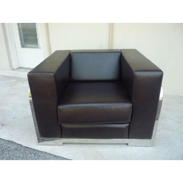 This is a huge architectural chrome framed & leather cube chair from an estate littered with Italian designer furniture....