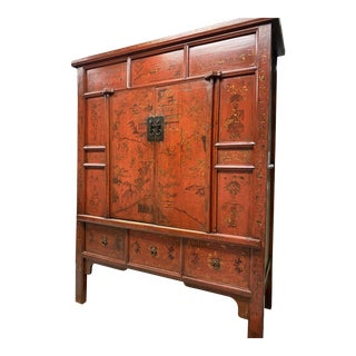 Chinese Red Lacquered Solid Wood Armoire For Sale