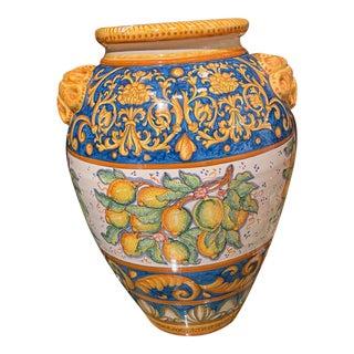 1980s Italian Ceramic Hand-Painted Italian Urn With Lemons For Sale