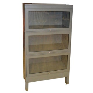 Storage Barrister Cabinet / Bookcase Three-Section Grey Steel With Glass Front For Sale