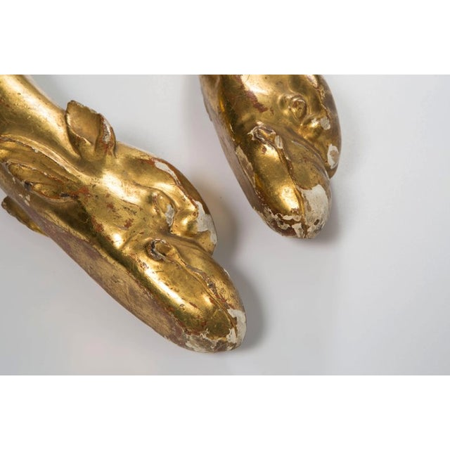Gold 18th Century Gold Leaf Dolphin Shaped Ornaments - a Pair For Sale - Image 8 of 11