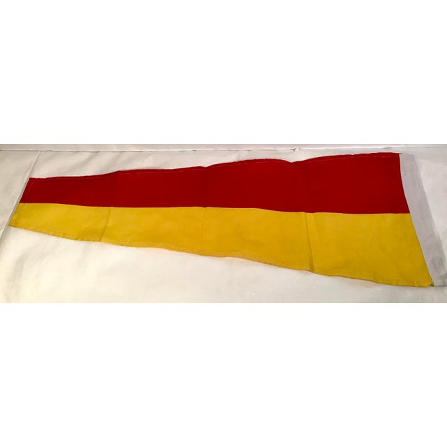 Nautical Vintage Nautical Yellow & Red Ship Flag For Sale - Image 3 of 4