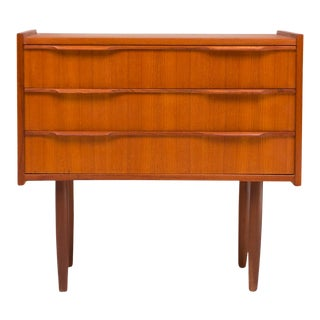 Vintage Danish Mid-Century Three Drawer Teak Chest For Sale