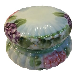 Beautiful Vintage Violets & Roses Small Ceramic Box For Sale