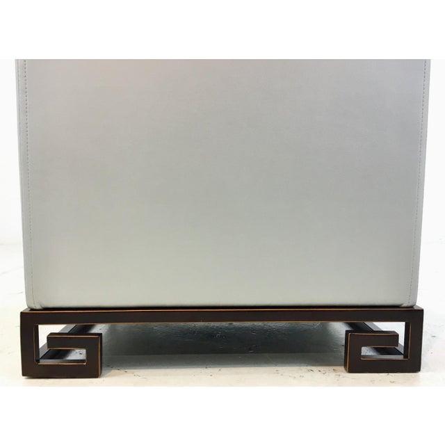 port 68 modern silver faux leather greek key mizner. Black Bedroom Furniture Sets. Home Design Ideas