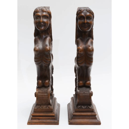Figurial Walnut Carved Bookends - a Pair For Sale - Image 11 of 11