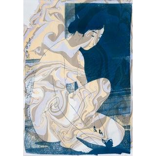 Woman After a Bath, Ukiyo-E Nude Cyanotype For Sale