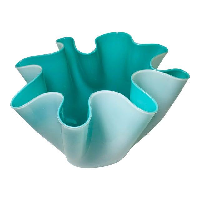 """Fulvio Bianconi Venini Cased Tiffany Blue Glass """"Fazzoletto"""" Handkerchief Vase For Sale"""