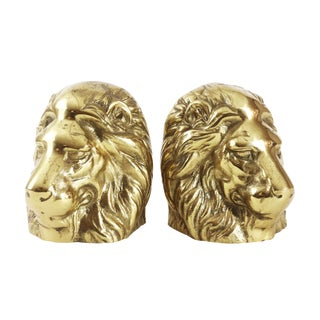 1970s Hollywood Regency Brass Lion Head Bookends - a Pair