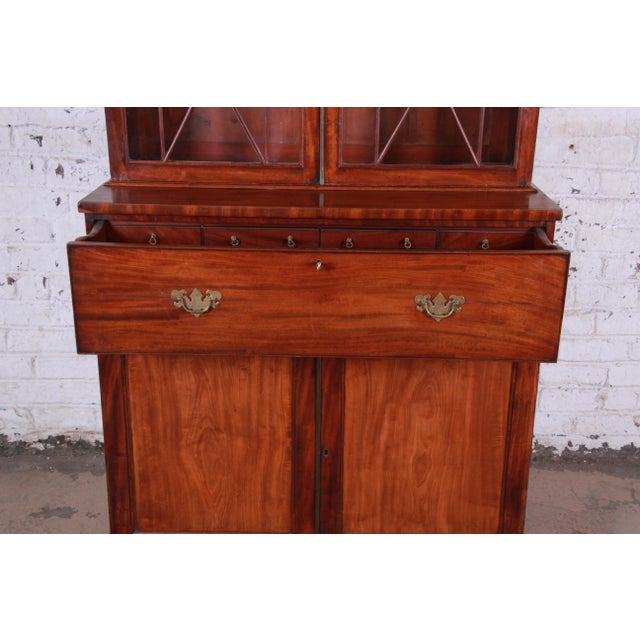 Mid 19th Century English George III Style Mahogany and Cherry Drop Front Secretary Desk With Bookcase, Circa 1870 For Sale - Image 5 of 13