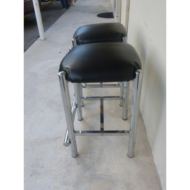 1970s 1970's Backless Chrome Bar Stools - a Pair For Sale - Image 5 of 10