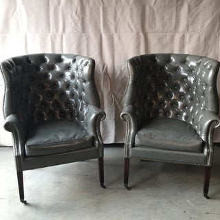 Vintage Gray Chesterfield Chairs - a Pair Preview