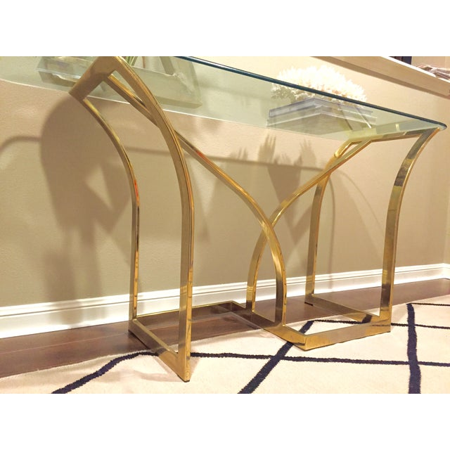 Vintage 1970s Brass & Glass Console Table - Image 6 of 9
