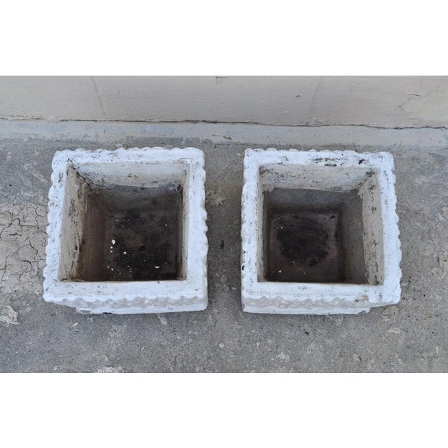 9 X 11 Pair of Vintage White Concrete Cement Square Garden Planter Flower Pots For Sale - Image 5 of 7