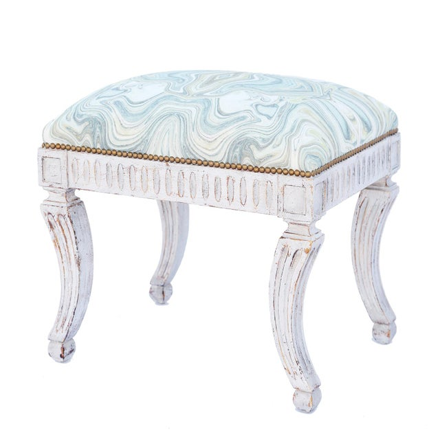 Paint Painted Neoclassical Stool With Crown Seat For Sale - Image 7 of 7