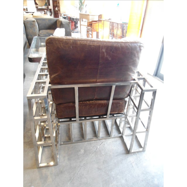 Hd Buttercup Distressed Leather and Chrome Arm Chair - Image 4 of 5