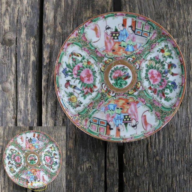 Antique Chinese Qing Rose Medallion Porcelain 6-Inch Cupped Plates Set of 8 For Sale - Image 10 of 13