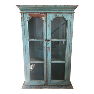 Antique Indian Green Painted Hutch For Sale