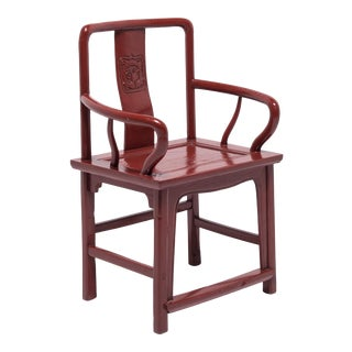 Chinese Red Lacquer Official's Chair For Sale