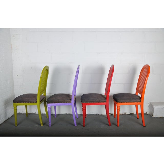1970's Vintage French Multicolor Dining Chairs With Cane Back - Set of 4 For Sale - Image 9 of 13