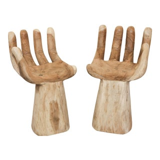 Hand Carved Teak Hand Chairs in the Style of Pedro Friedeberg - a Pair For Sale