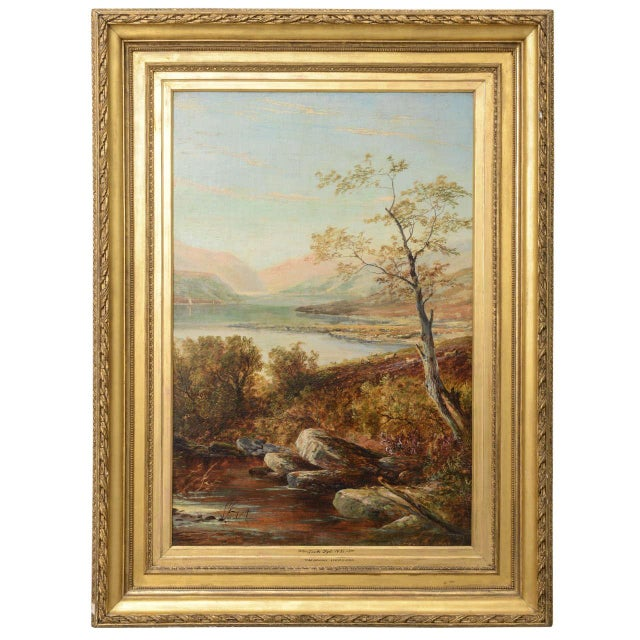 """19th Century Oil on Board Painting, """"Loch Tyt N. B."""": Thomas Hines For Sale - Image 11 of 11"""