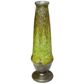 Tall Varigated Art Deco Daum Nancy Green Vase, 1920 For Sale
