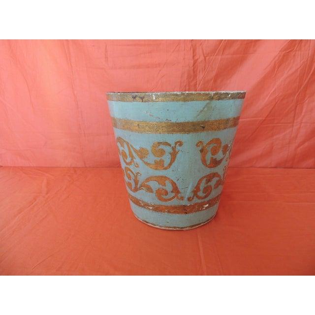 Hollywood Regency Vintage Florentine Turquoise and Gold Wastebasket For Sale - Image 3 of 6