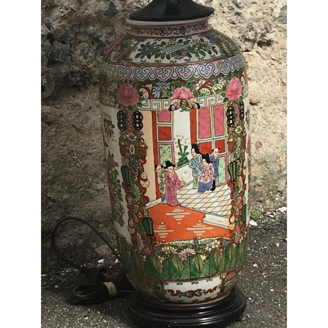 Vintage Chinoiserie Hand-Painted Accent Lamp - Image 4 of 6