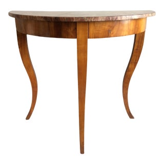 French Walnut Demilune Console Table For Sale