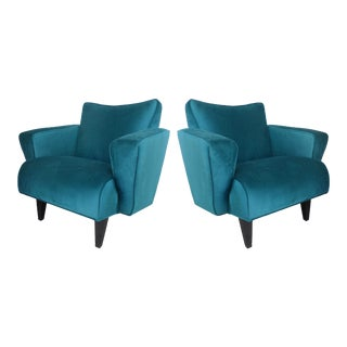 Thayer Coggin Pair of Club Chairs in Velvet