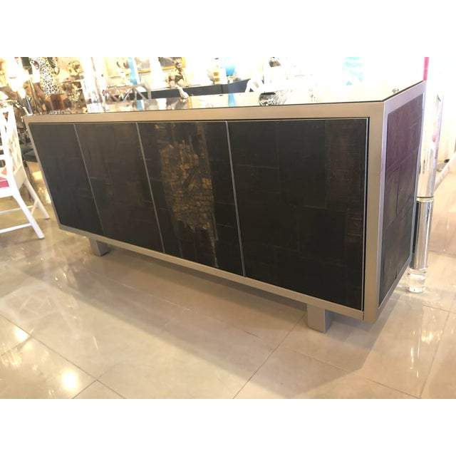 Rare signed Pia Manu (pictures) Ceramic slate sculpted 4 door Credenza Buffet Sideboard. One side has a lined drawer...