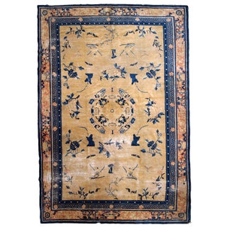 1870s, Handmade Antique Chinese Ningsha Rug 6.1' X 9.3' For Sale