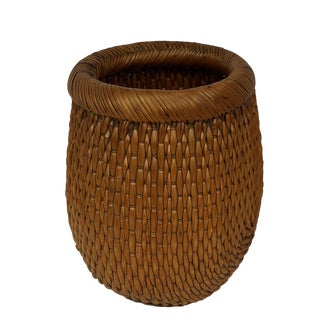 Vintage Chinese Hand Woven Willow Fish Basket For Sale