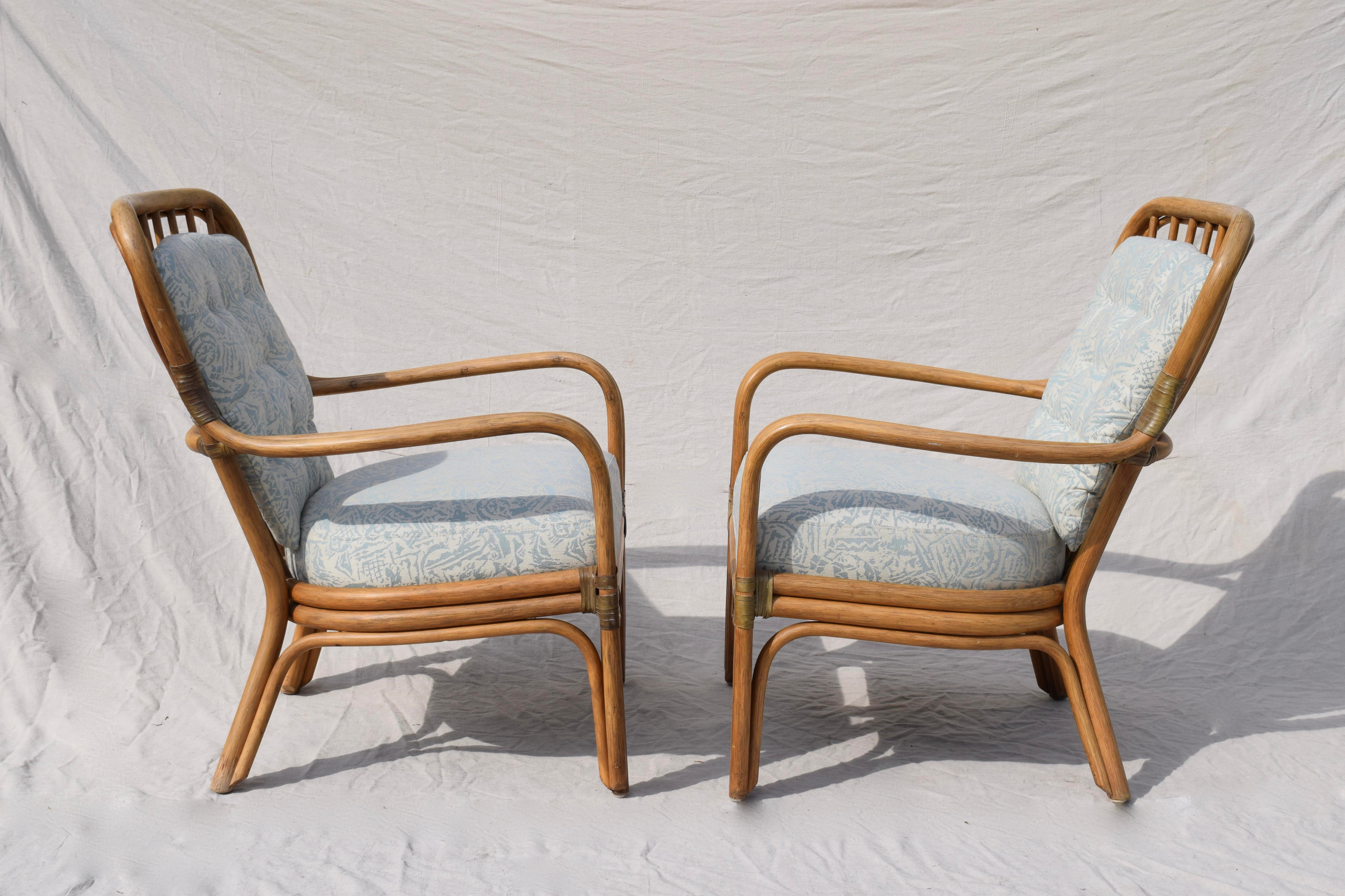 Gentil Late 20th Century Palecek Large Pole Bent Bamboo Chairs   A Pair For Sale    Image