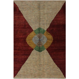 Modern Bauhaus Karmen Red/Tan Wool Rug - 6'2 X 8'8 For Sale
