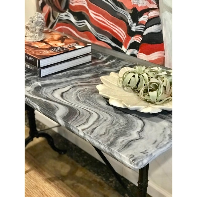 French 1920s French Marble Top Iron Base Console For Sale - Image 3 of 10