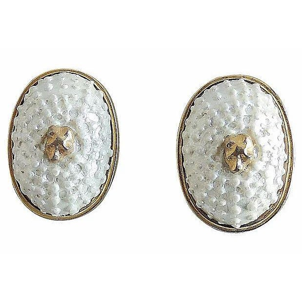 1980s Valentino Faux-Shell Earrings For Sale - Image 4 of 4